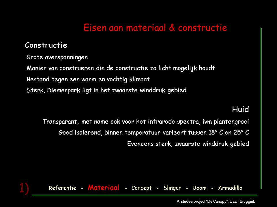"""Afstudeerproject """"De Canopy"""", Daan Bruggink 1) Eisen aan materiaal & constructie Huid Transparant, met name ook voor het infrarode spectra, ivm plante"""