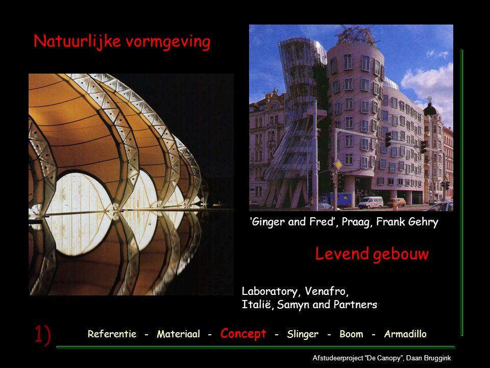 """Afstudeerproject """"De Canopy"""", Daan Bruggink 1) Natuurlijke vormgeving Referentie - Materiaal - Concept - Slinger - Boom - Armadillo 'Ginger and Fred',"""