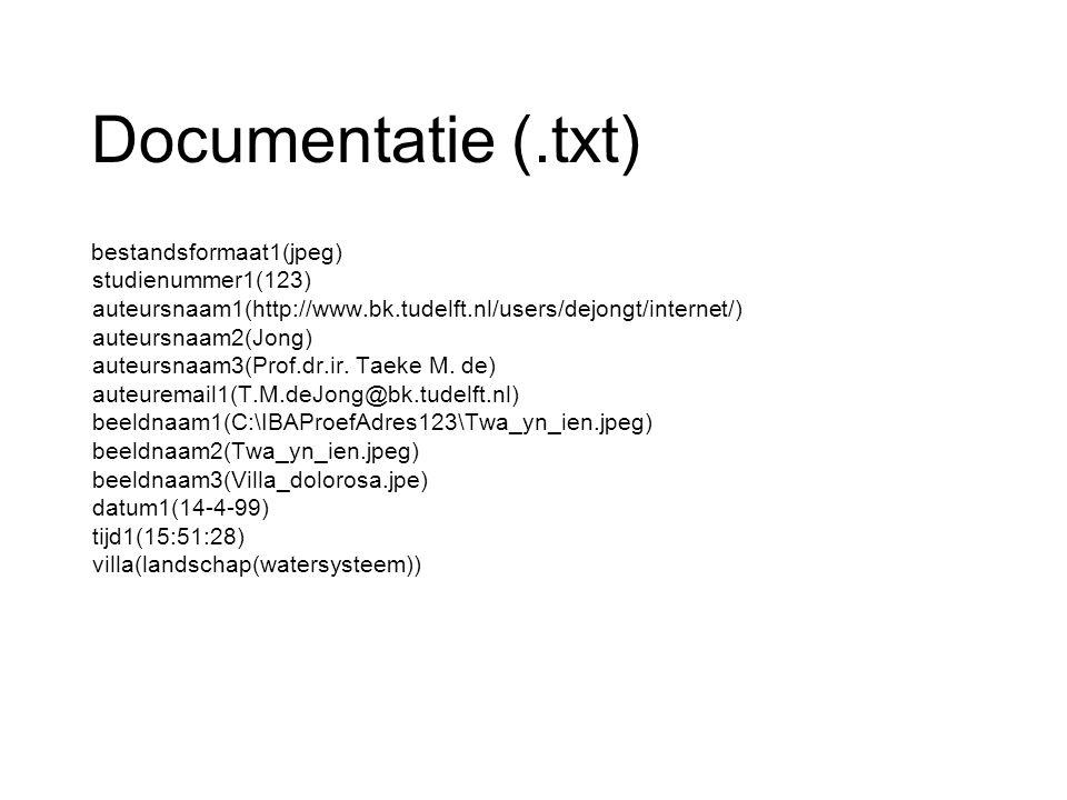 Documentatie (.txt) bestandsformaat1(jpeg) studienummer1(123) auteursnaam1(http://www.bk.tudelft.nl/users/dejongt/internet/) auteursnaam2(Jong) auteur