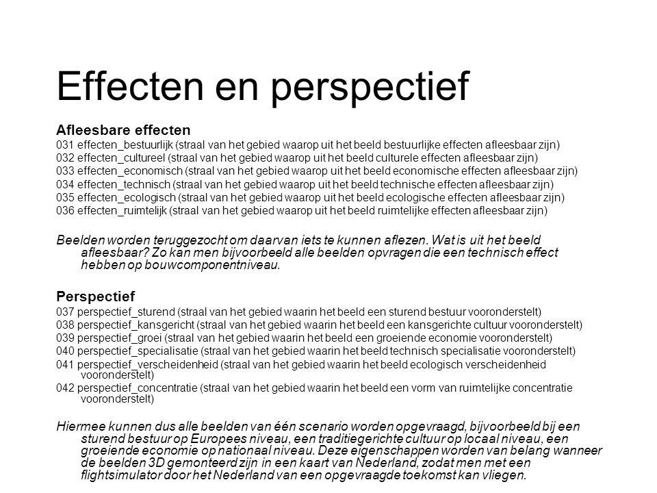 Effecten en perspectief Afleesbare effecten 031 effecten_bestuurlijk (straal van het gebied waarop uit het beeld bestuurlijke effecten afleesbaar zijn) 032 effecten_cultureel (straal van het gebied waarop uit het beeld culturele effecten afleesbaar zijn) 033 effecten_economisch (straal van het gebied waarop uit het beeld economische effecten afleesbaar zijn) 034 effecten_technisch (straal van het gebied waarop uit het beeld technische effecten afleesbaar zijn) 035 effecten_ecologisch (straal van het gebied waarop uit het beeld ecologische effecten afleesbaar zijn) 036 effecten_ruimtelijk (straal van het gebied waarop uit het beeld ruimtelijke effecten afleesbaar zijn) Beelden worden teruggezocht om daarvan iets te kunnen aflezen.