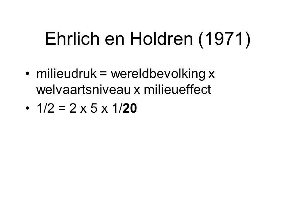 Ehrlich en Holdren (1971) milieudruk = wereldbevolking x welvaartsniveau x milieueffect 1/2 = 2 x 5 x 1/20
