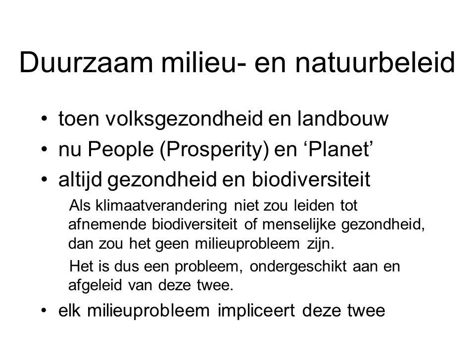 Duurzaam milieu- en natuurbeleid toen volksgezondheid en landbouw nu People (Prosperity) en 'Planet' altijd gezondheid en biodiversiteit Als klimaatverandering niet zou leiden tot afnemende biodiversiteit of menselijke gezondheid, dan zou het geen milieuprobleem zijn.