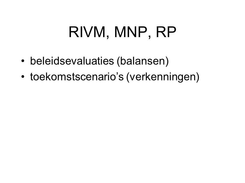 RIVM, MNP, RP beleidsevaluaties (balansen) toekomstscenario's (verkenningen)