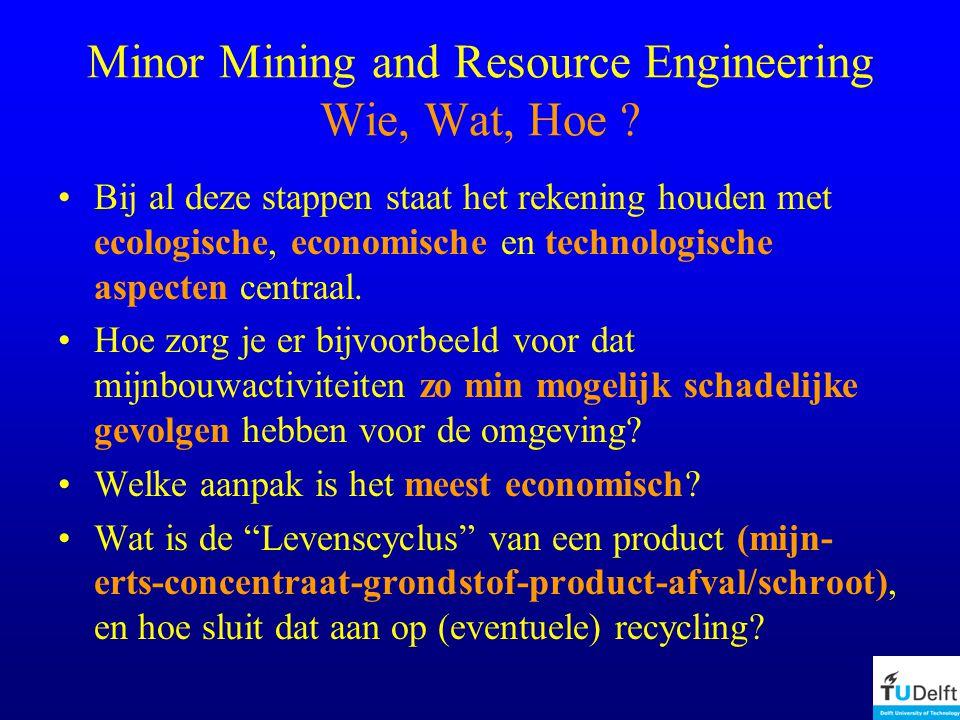 Minor Mining and Resource Engineering Wie, Wat, Hoe .