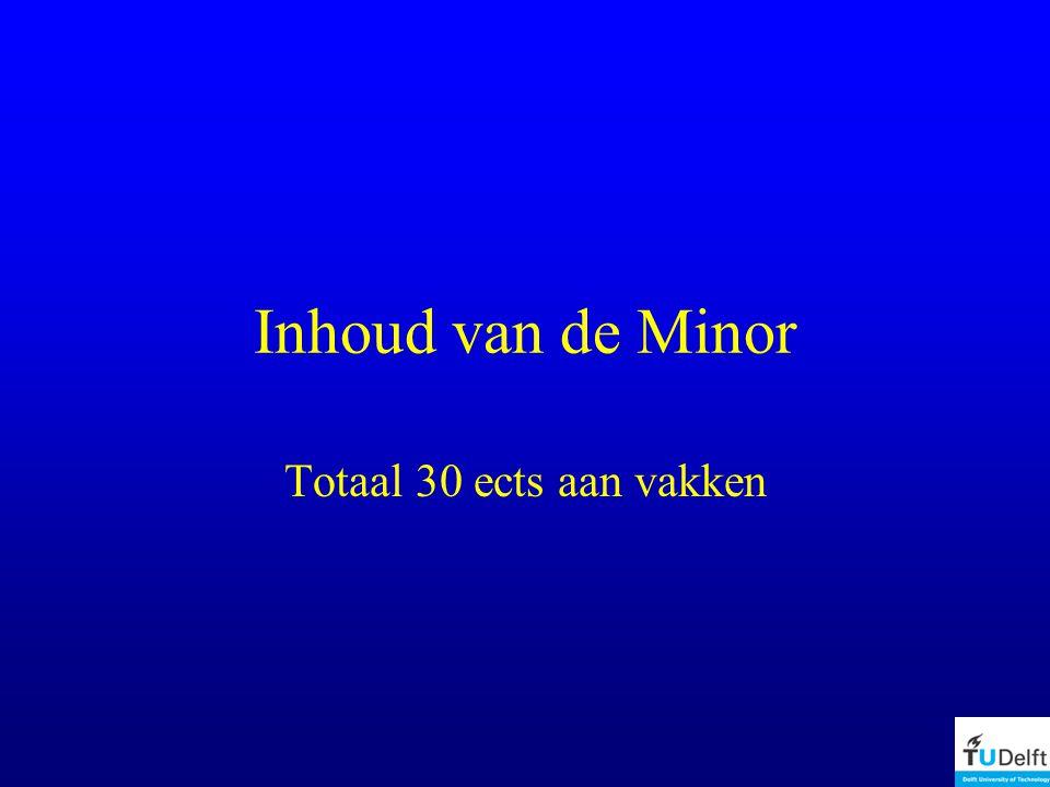 Inhoud van de Minor Totaal 30 ects aan vakken