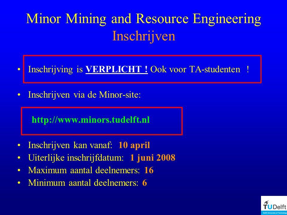 Minor Mining and Resource Engineering Inschrijven Inschrijving is VERPLICHT .