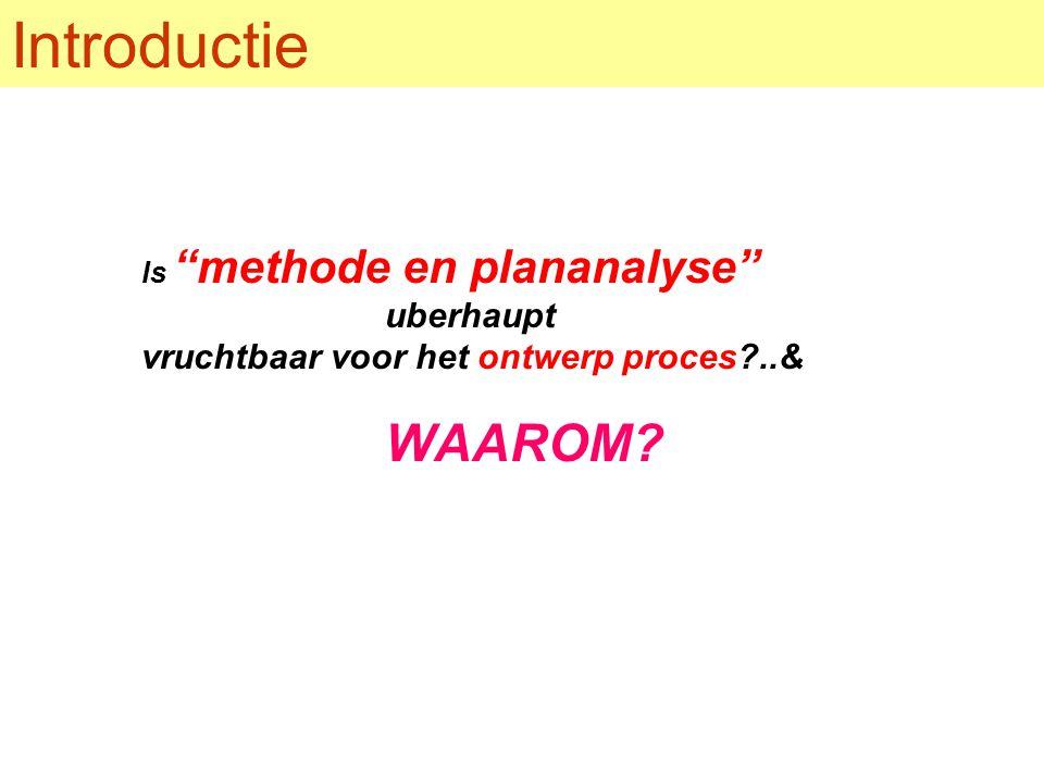 Introductie Is methode en plananalyse uberhaupt vruchtbaar voor het ontwerp proces ..& WAAROM