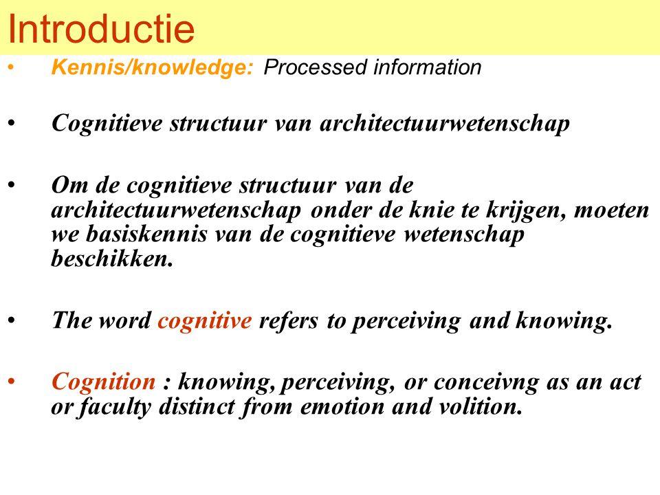 Introductie Kennis/knowledge: Processed information Cognitieve structuur van architectuurwetenschap Om de cognitieve structuur van de architectuurwetenschap onder de knie te krijgen, moeten we basiskennis van de cognitieve wetenschap beschikken.