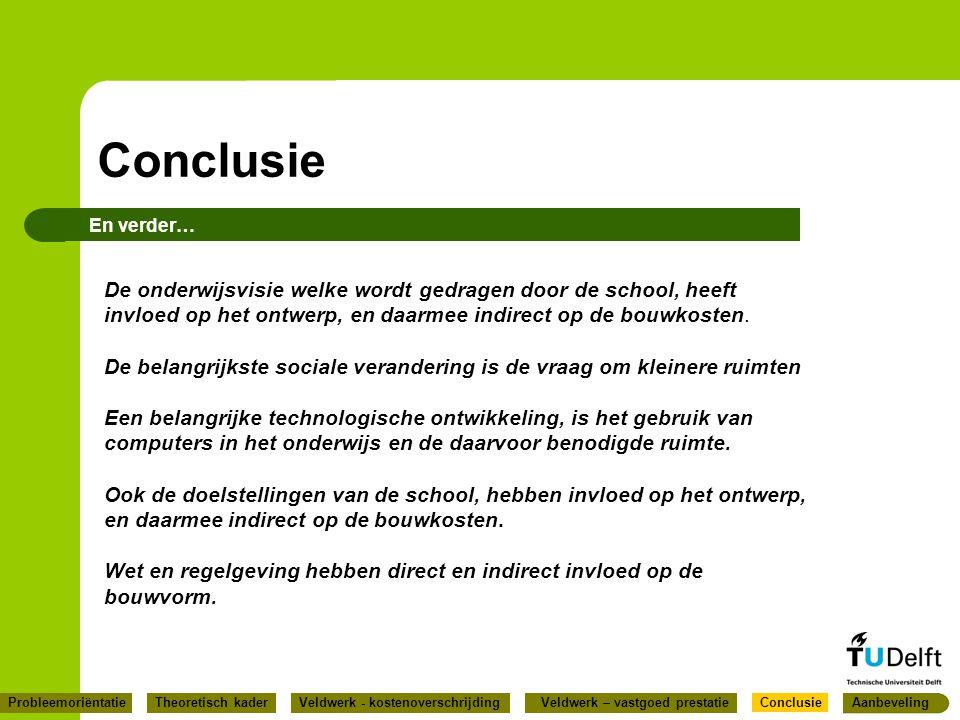 Conclusie En verder… De onderwijsvisie welke wordt gedragen door de school, heeft invloed op het ontwerp, en daarmee indirect op de bouwkosten. De bel
