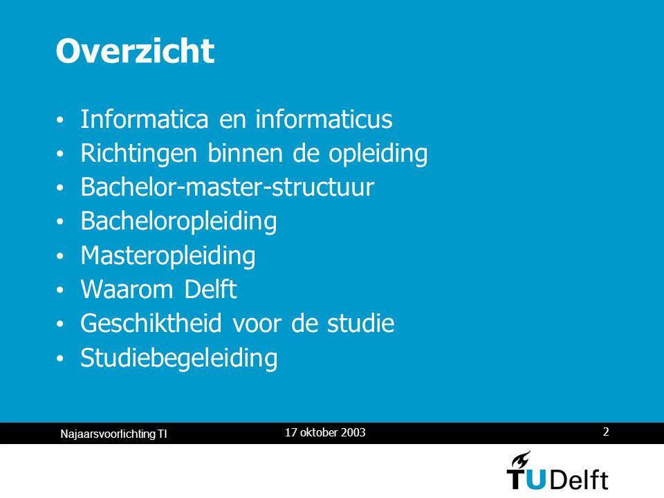 17 oktober 2003 3 Najaarsvoorlichting TI Informatica is overal Besturing van complexe systemen: de kering in de Nieuwe Waterweg Informatiesystemen bij bedrijven: administratie, logistiek.