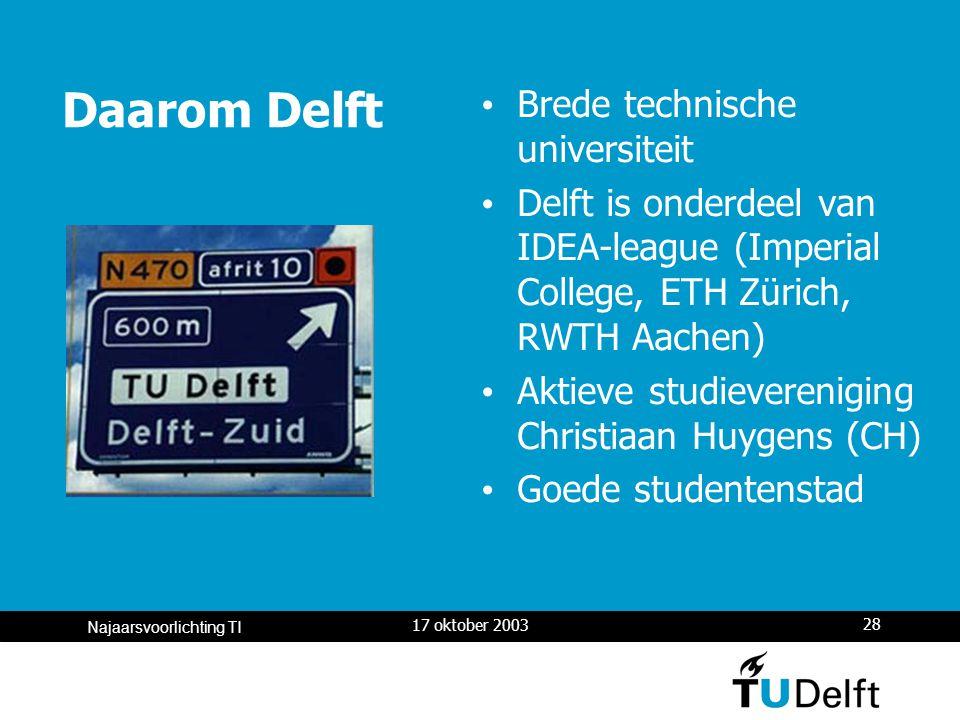 17 oktober 2003 28 Najaarsvoorlichting TI Daarom Delft Brede technische universiteit Delft is onderdeel van IDEA-league (Imperial College, ETH Zürich, RWTH Aachen) Aktieve studievereniging Christiaan Huygens (CH) Goede studentenstad