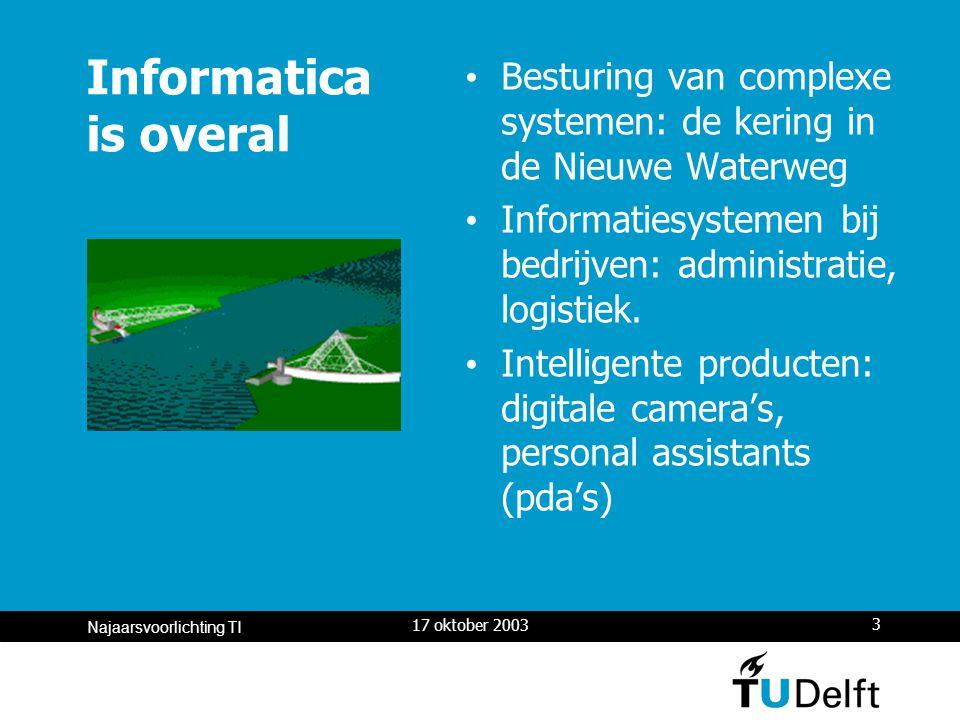 17 oktober 2003 4 Najaarsvoorlichting TI Informatica is overal Multi-media: internet, mobiele communicatie, video, mp3, medische visualisatie User interfaces: windows, virtual reality, games, intelligentie