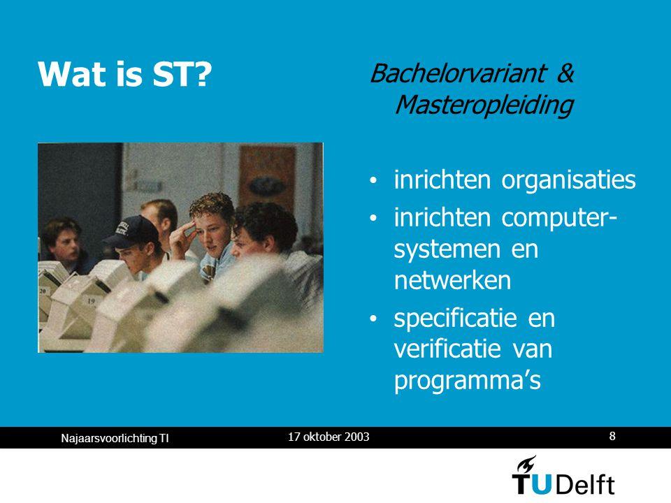 17 oktober 2003 8 Najaarsvoorlichting TI Wat is ST.
