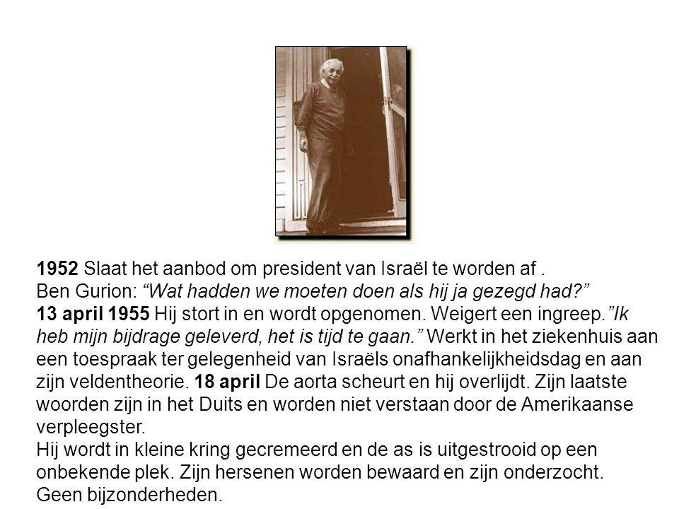 1952 Slaat het aanbod om president van Israël te worden af.
