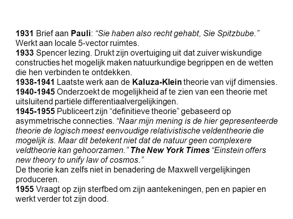 1931 Brief aan Pauli: Sie haben also recht gehabt, Sie Spitzbube. Werkt aan locale 5-vector ruimtes.