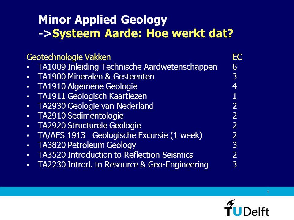 6 Geotechnologie VakkenEC TA1009 Inleiding Technische Aardwetenschappen 6 TA1900 Mineralen & Gesteenten 3 TA1910 Algemene Geologie4 TA1911 Geologisch