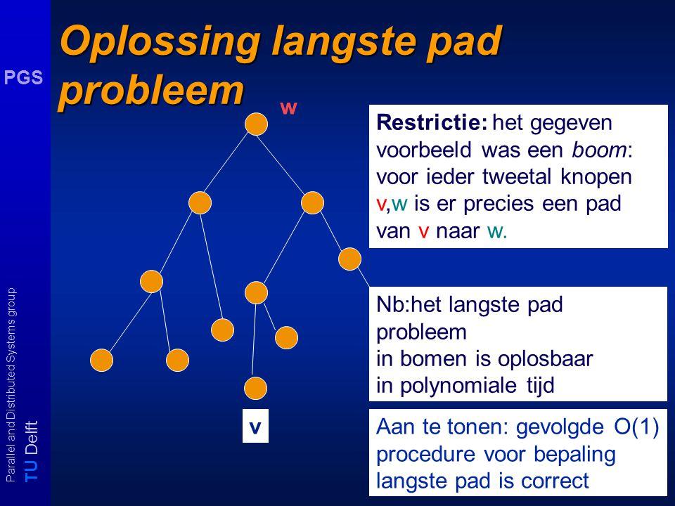 T U Delft Parallel and Distributed Systems group PGS Oplossing langste pad probleem Restrictie: het gegeven voorbeeld was een boom: voor ieder tweetal knopen v,w is er precies een pad van v naar w.