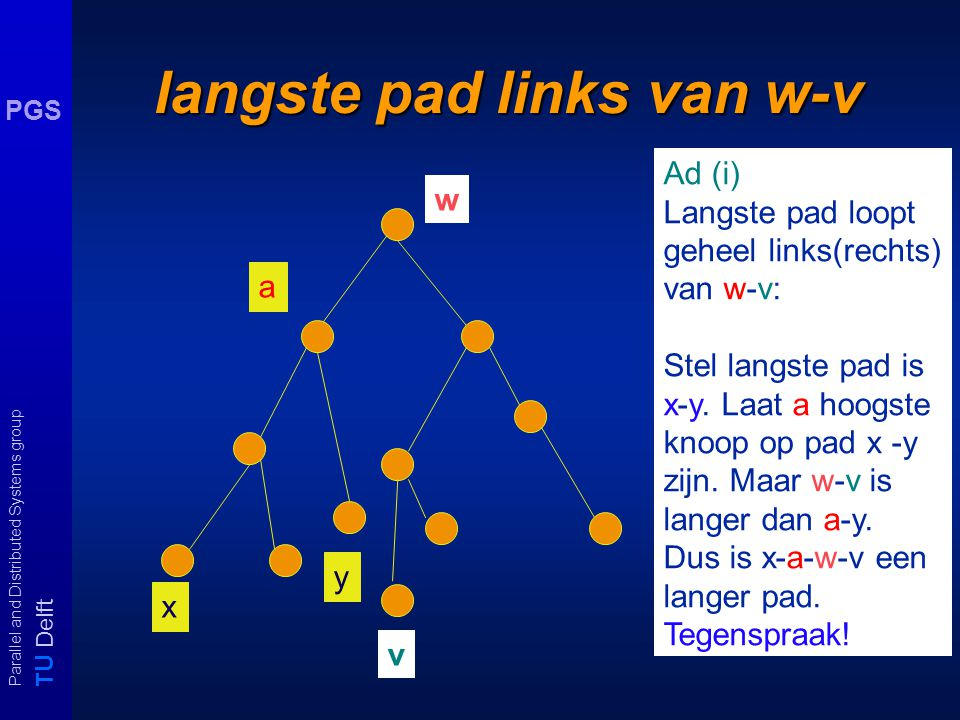 T U Delft Parallel and Distributed Systems group PGS langste pad links van w-v w Ad (i) Langste pad loopt geheel links(rechts) van w-v: Stel langste p