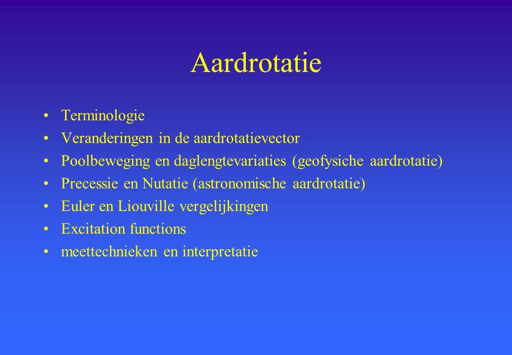 Aardrotatie Terminologie Veranderingen in de aardrotatievector Poolbeweging en daglengtevariaties (geofysiche aardrotatie) Precessie en Nutatie (astro