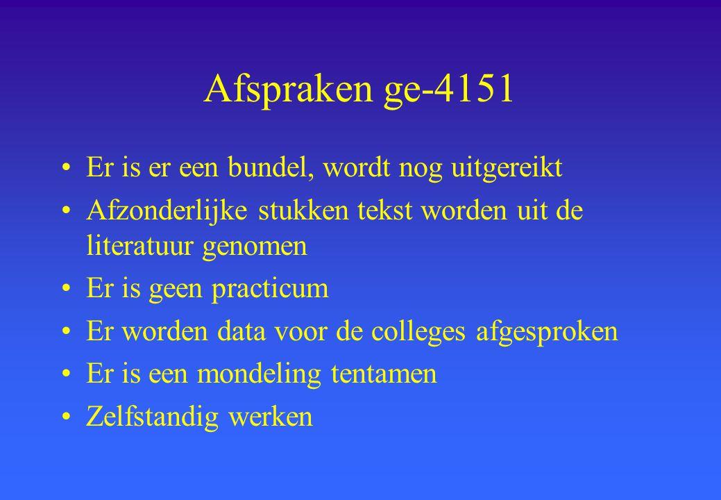Afspraken ge-4151 Er is er een bundel, wordt nog uitgereikt Afzonderlijke stukken tekst worden uit de literatuur genomen Er is geen practicum Er worde