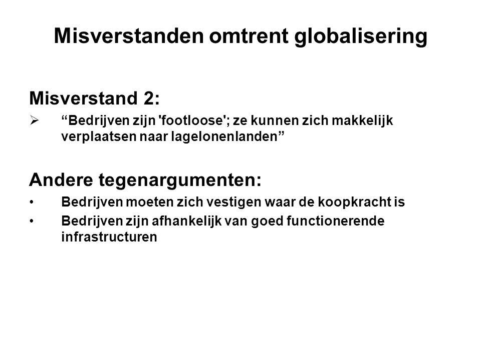 """Misverstanden omtrent globalisering Misverstand 2:  """"Bedrijven zijn 'footloose'; ze kunnen zich makkelijk verplaatsen naar lagelonenlanden"""" Andere te"""