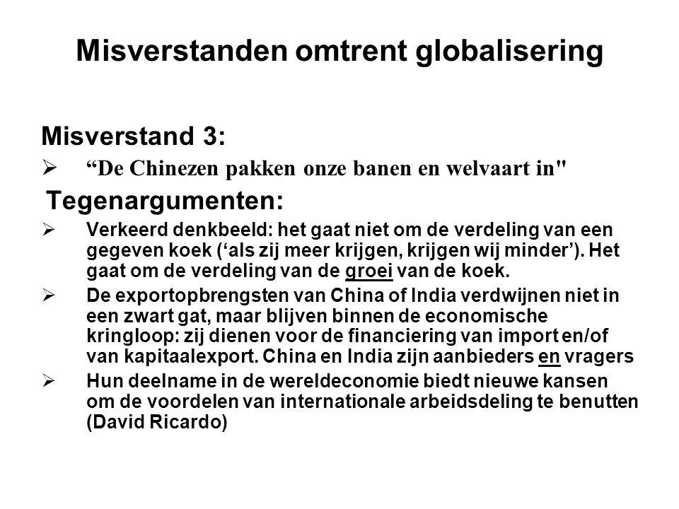 """Misverstanden omtrent globalisering Misverstand 3:  """"De Chinezen pakken onze banen en welvaart in"""