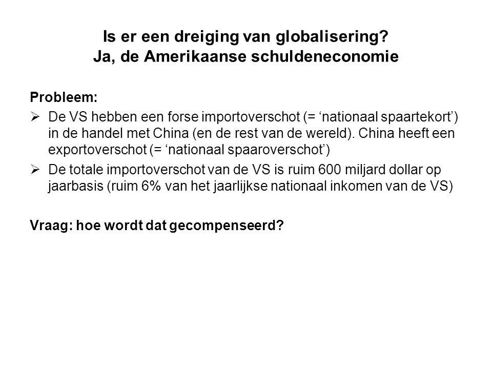 Is er een dreiging van globalisering? Ja, de Amerikaanse schuldeneconomie Probleem:  De VS hebben een forse importoverschot (= 'nationaal spaartekort