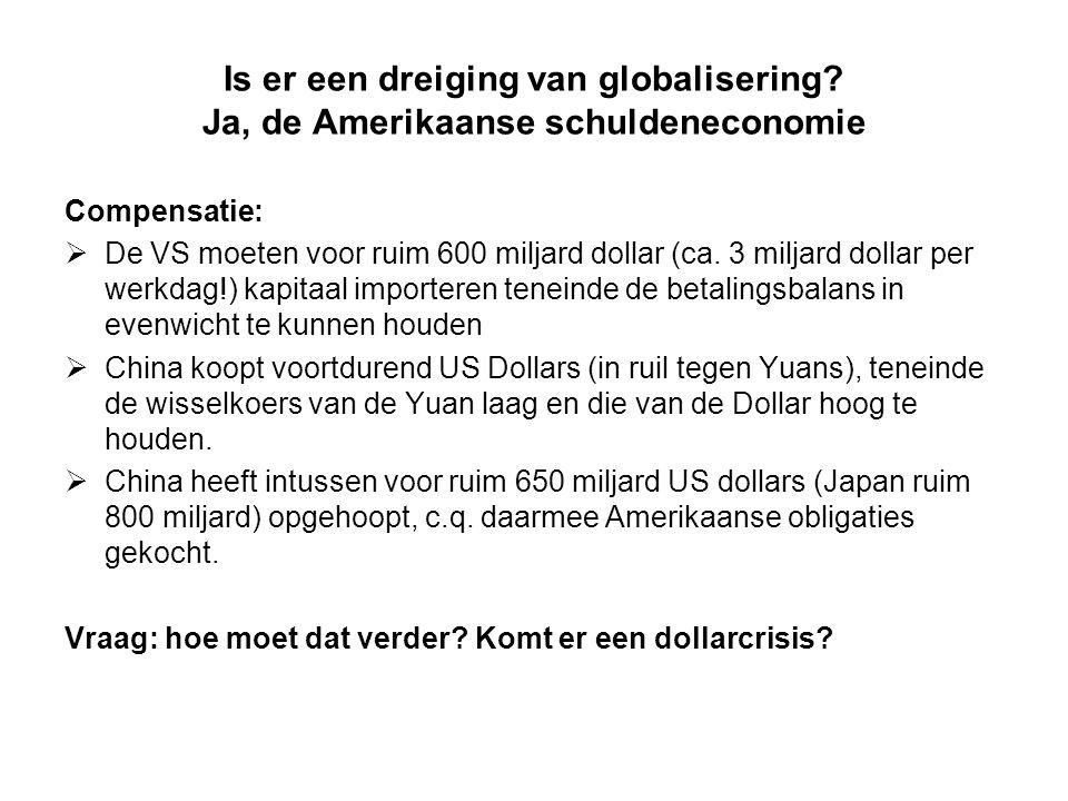 Is er een dreiging van globalisering? Ja, de Amerikaanse schuldeneconomie Compensatie:  De VS moeten voor ruim 600 miljard dollar (ca. 3 miljard doll