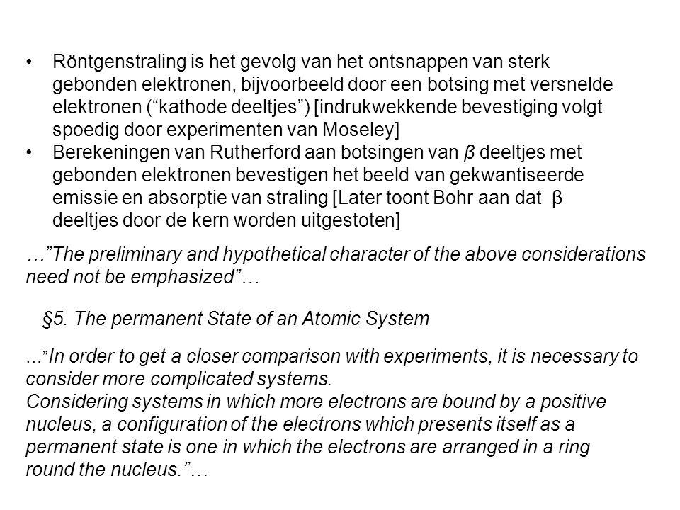 """Röntgenstraling is het gevolg van het ontsnappen van sterk gebonden elektronen, bijvoorbeeld door een botsing met versnelde elektronen (""""kathode deelt"""