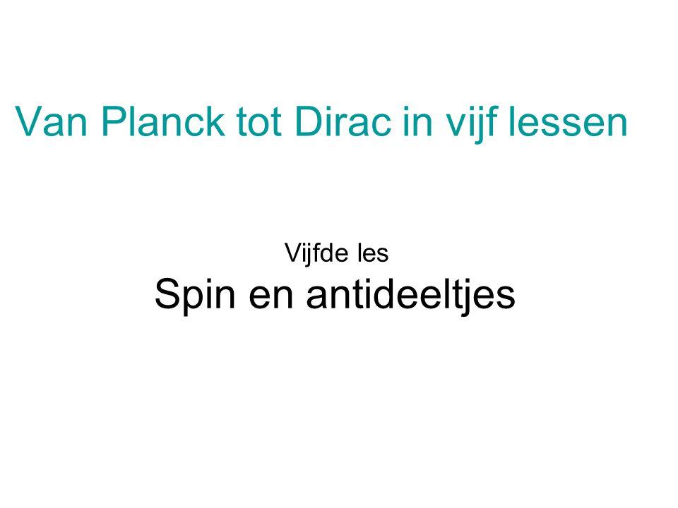 Van Planck tot Dirac in vijf lessen Vijfde les Spin en antideeltjes