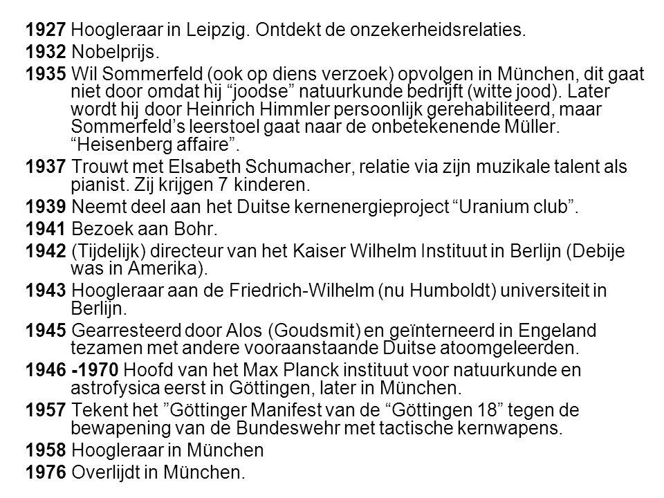 1927 Hoogleraar in Leipzig.Ontdekt de onzekerheidsrelaties.