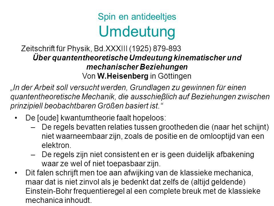Spin en antideeltjes Tollende elektronen (??) Nature, vol.