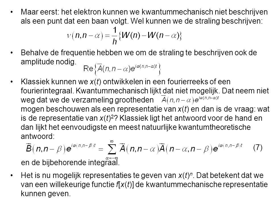 """… """"Eine wesentliche Schwierigkeit entsteht jedoch, wenn wie zwei Gröβen x(t), y(t) betrachten und nach dem Produkt x(t)y(t) fragen. … … Während klassisch x(t)y(t) stets gleich y(t)x(t) wird, braucht dies in der Quantentheorie im allgemeinen nicht der Fall zu sein. … Dit was het kinematische deel."""