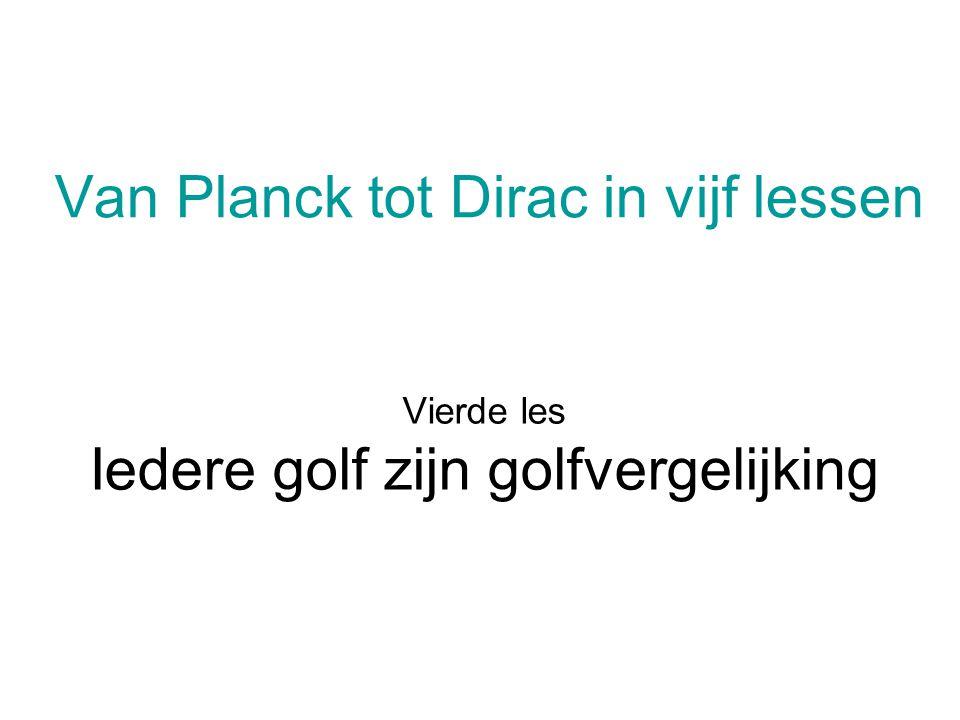 Iedere golf zijn golfvergelijking Golven Een (lopende) golf is een zich voortplantende evenwichtsverstoring in een medium.