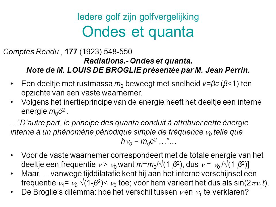 Iedere golf zijn golfvergelijking Ondes et quanta Comptes Rendu, 177 (1923) 548-550 Radiations.- Ondes et quanta.