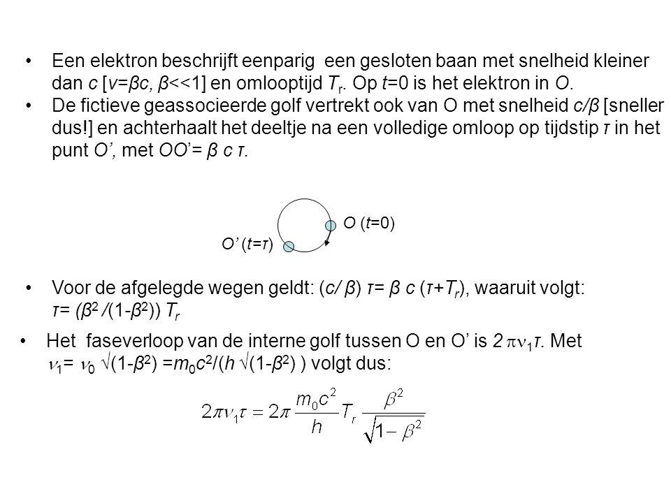 Een elektron beschrijft eenparig een gesloten baan met snelheid kleiner dan c [v=βc, β<<1] en omlooptijd T r.