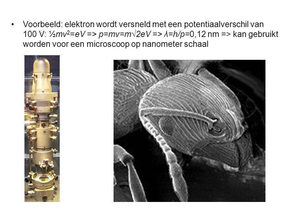 Voorbeeld: elektron wordt versneld met een potentiaalverschil van 100 V: ½mv 2 =eV => p=mv=m√2eV => λ=h/p=0,12 nm => kan gebruikt worden voor een microscoop op nanometer schaal