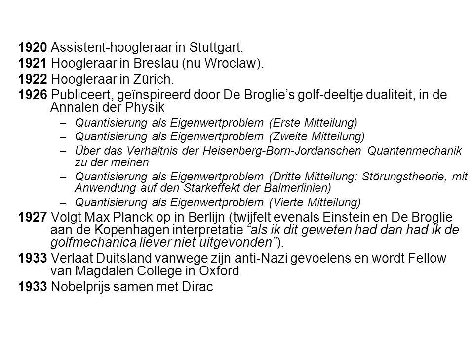 1920 Assistent-hoogleraar in Stuttgart.1921 Hoogleraar in Breslau (nu Wroclaw).