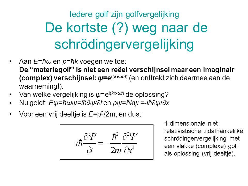 Iedere golf zijn golfvergelijking De kortste (?) weg naar de schrödingervergelijking Aan E=ħω en p=ħk voegen we toe: De materiegolf is niet een reëel verschijnsel maar een imaginair (complex) verschijnsel: ψ=e i(kx-ωt) (en onttrekt zich daarmee aan de waarneming!).