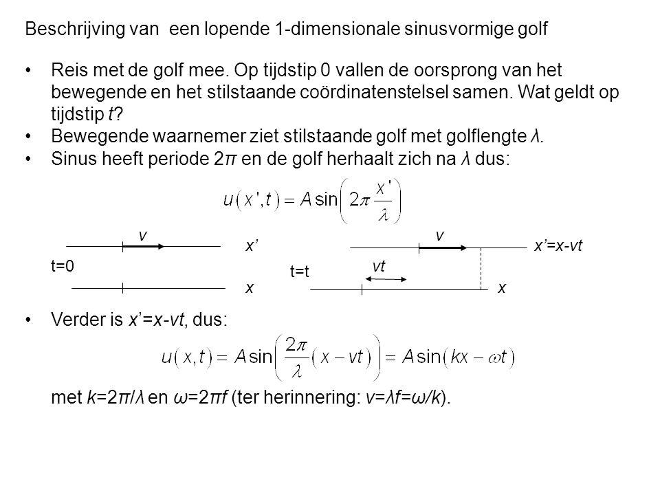Van welke differentiaalvergelijking is u(x,t)=Asin(kx-ωt) een oplossing.