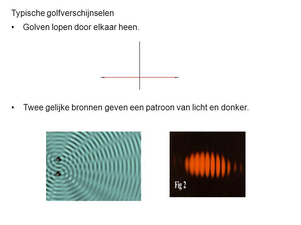 Staande golf op een cirkelbaan kan alleen ontstaan als een geheel aantal golflengtes op de baan past: 2πr =nλ, n=1, 2,… Voor het lichtdeeltje (foton) geldt: p=mc en E=mc 2 =cp.