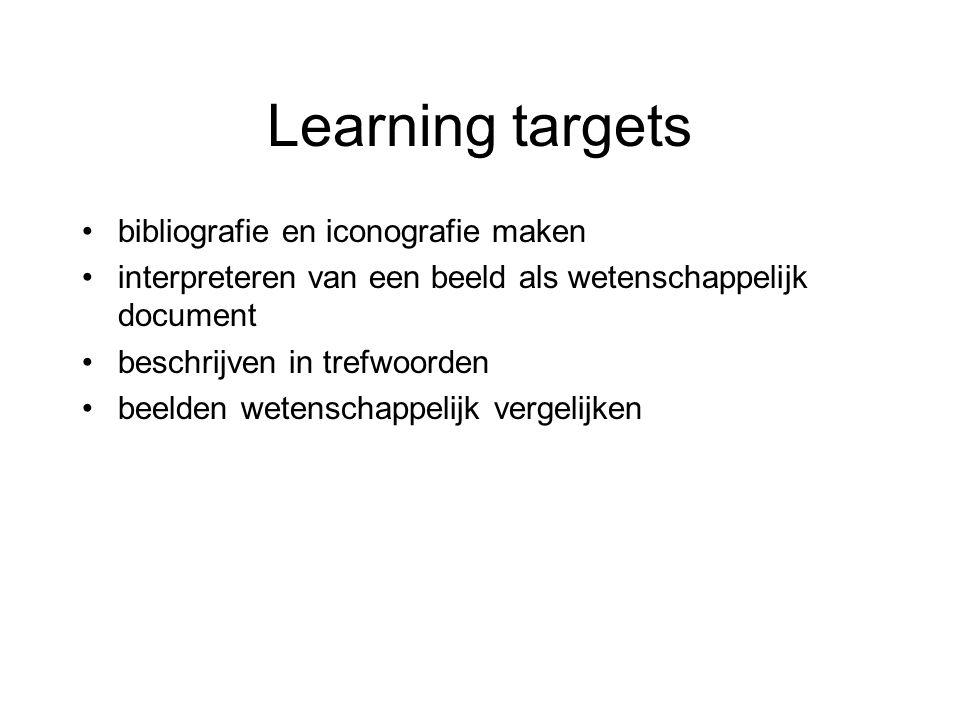 Learning targets bibliografie en iconografie maken interpreteren van een beeld als wetenschappelijk document beschrijven in trefwoorden beelden wetenschappelijk vergelijken