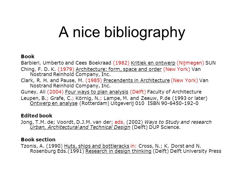 A nice bibliography Book Barbieri, Umberto and Cees Boekraad (1982) Kritiek en ontwerp (Nijmegen) SUN Ching, F.
