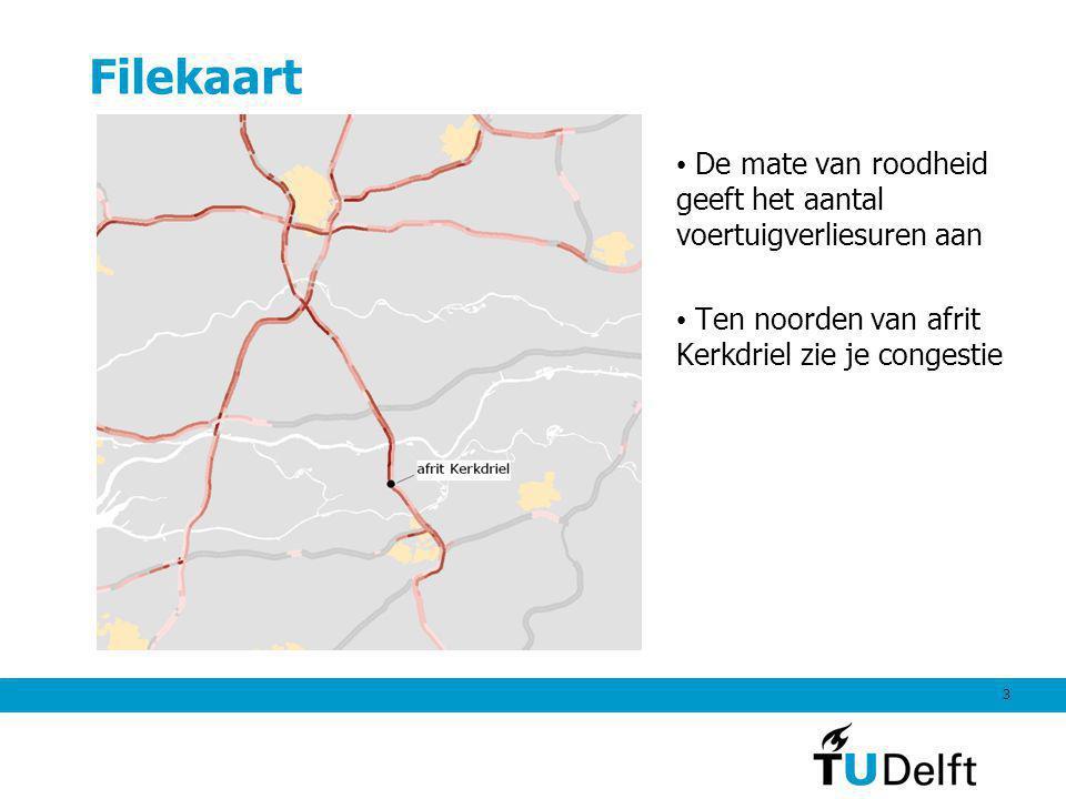 3 Filekaart De mate van roodheid geeft het aantal voertuigverliesuren aan Ten noorden van afrit Kerkdriel zie je congestie