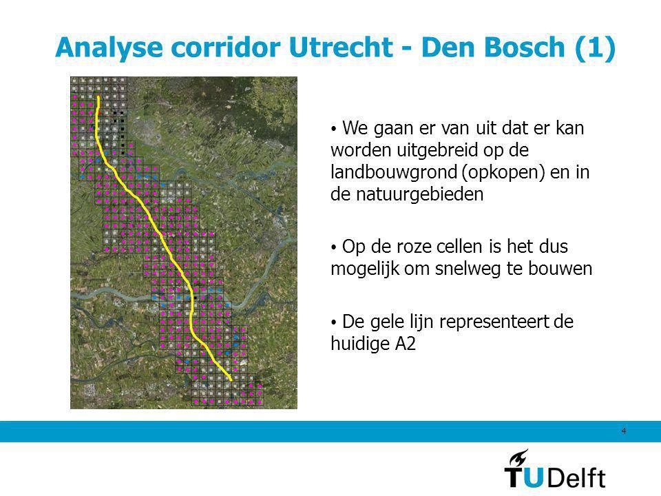 4 Analyse corridor Utrecht - Den Bosch (1) We gaan er van uit dat er kan worden uitgebreid op de landbouwgrond (opkopen) en in de natuurgebieden Op de