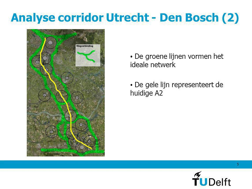 5 De groene lijnen vormen het ideale netwerk De gele lijn representeert de huidige A2 Analyse corridor Utrecht - Den Bosch (2)