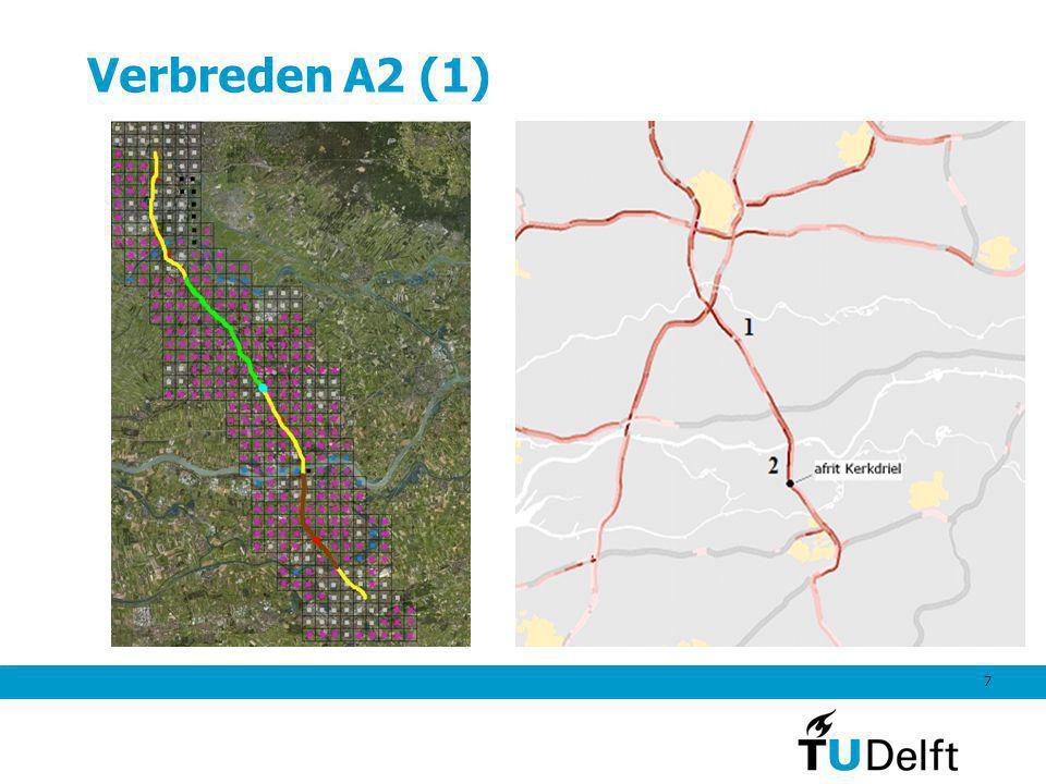 7 Verbreden A2 (1) De gele weg is de huidige A2 De groene lijn is de verbreding Everdingen – Deil van 2x2 naar 2x4 De lichtblauwe stip is de nieuwe Li