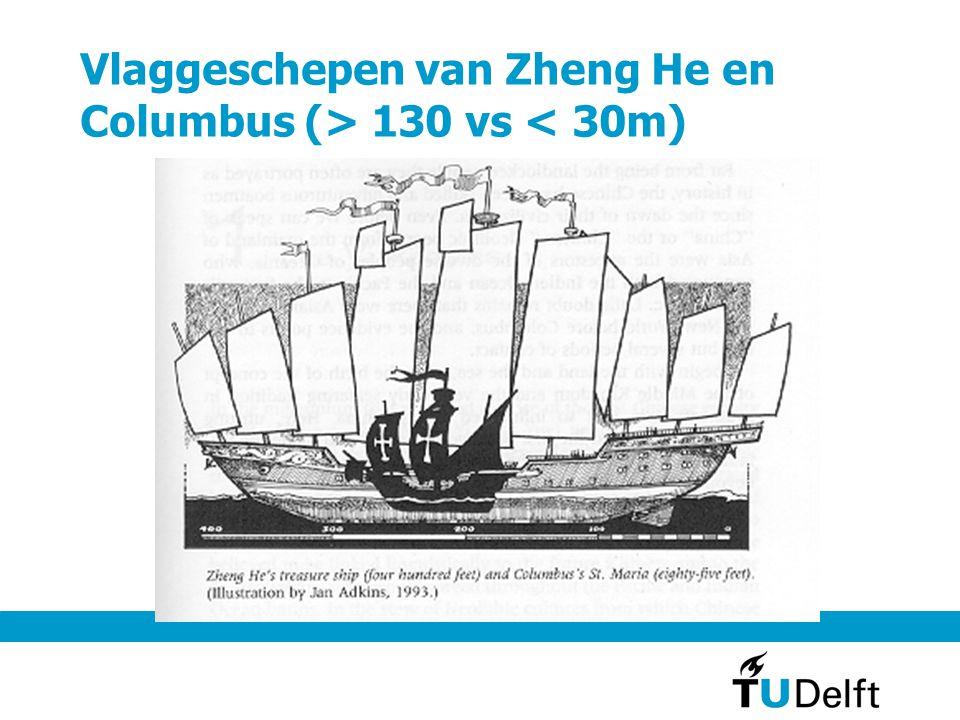Vlaggeschepen van Zheng He en Columbus (> 130 vs < 30m)