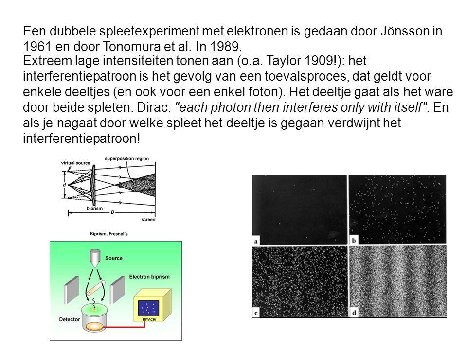 Een dubbele spleetexperiment met elektronen is gedaan door Jönsson in 1961 en door Tonomura et al.