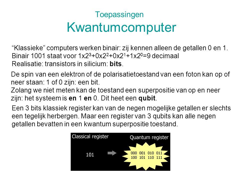 """Toepassingen Kwantumcomputer """"Klassieke"""" computers werken binair: zij kennen alleen de getallen 0 en 1. Binair 1001 staat voor 1x2 3 +0x2 2 +0x2 1 +1x"""